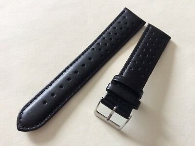 Italian vintage perforated watch band 22mm Black Rally Racing strap correa C38