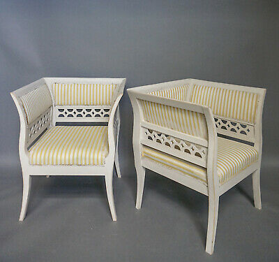 Pair of Gustavian Style Armchairs in Rare Form