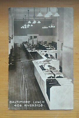 Old Postcard Photo Dining Room Baltimore Lunch 406 Riverside Dated 1922