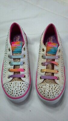 SKECHERS LIMITED EDITION SNEAKERS (Size 3) TWINKLE TOES, PURPLE HEART, LIGHT UP