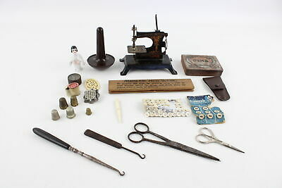 Job Lot Of Antique / Vintage HABERDASHERY Inc Miniature Sewing Machine, Thimbles