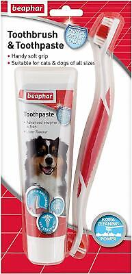 Beaphar Dog Puppy Cat Toothbrush And Toothpaste Kit 100G Dental Breath Care Oral