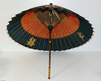 Antique Japanese Asian Rice Paper Oriental Parasol Umbrella Hand Painted Chinese