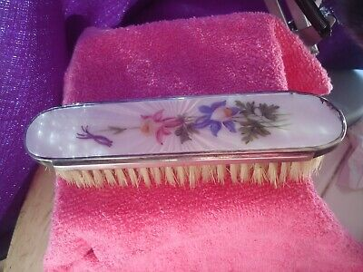 Guilloche Pink Enamel Silver Plate Columbine Florals English Mappin & Webb Brush