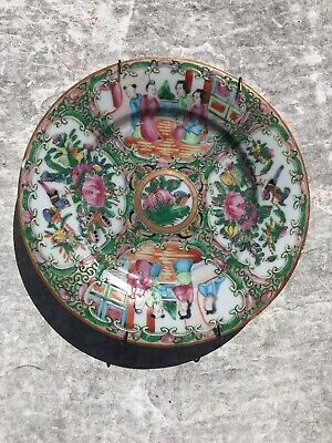 Antique Qing Dynasty Chinese Famille Rose Medallion Porcelain Plate Wall Hanger