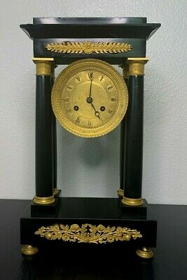Antique French Black Slate Gilt Mantel Clock - Hand Made