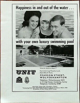 Unit Swimming Pools Ltd. Happiness In and Out of the Water Vintage Advert 1969