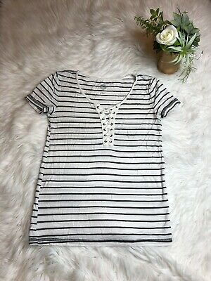 SO Womens Size XXS Black White Striped Short Sleeve Laced Front Blouse