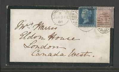 GB QV 1861 COMBINATION COVER TO CANADA 2d BLUE Plt8 SG;45 6d PALE LILAC SG;70