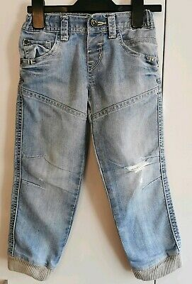 Boys Ripped Jeans M&S Indigo Age 3-4 Yrs Exc Cond