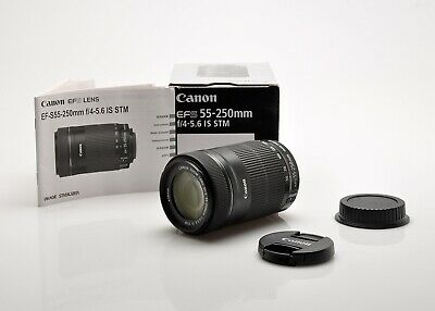 Canon EF-S 55-200mm f4-5.6 IS STM lens in box EX +