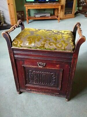 Antique Edwardian Piano Stool- Tilt Forward Music/Magazine Storage