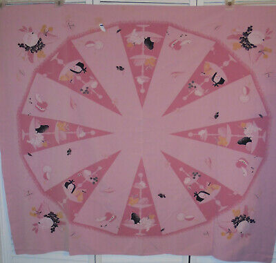 """1940s-50s Vintage California Hand Prints Pink Novelty Tablecloth  52"""" X 47"""""""