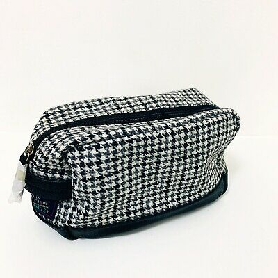 LAURA ASHLET BRAND NEW Black & White Houndstooth Moon Wool Toiletries Bag