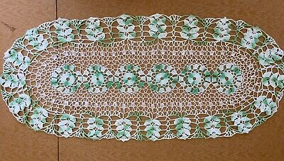 Vintage Crochet Green and off white handmade Lace Table Runner, doily.