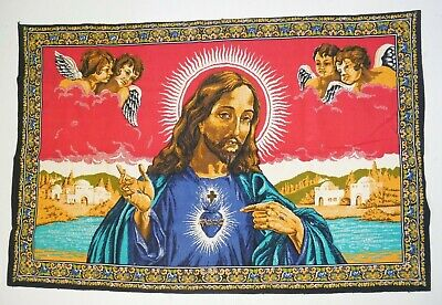 JESUS SACRED HEART Large 37×56 Vintage Wall Hanging Tapestry Christ Bright Blue