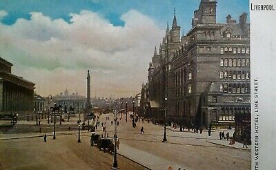 Liverpool UK Antique Postcard Early 1900s Rare Lime Street North Western Hotel