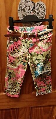 Girls Age 6-7 Pink Hawaaiin Trousers Vgc