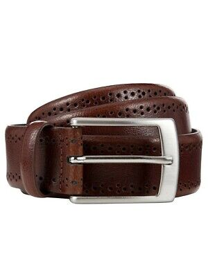 Men's Leather Brogue Belt By John Lewis Made In Italy Brand New