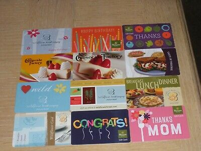 Bakeries   12 different new and used collectible gift cards