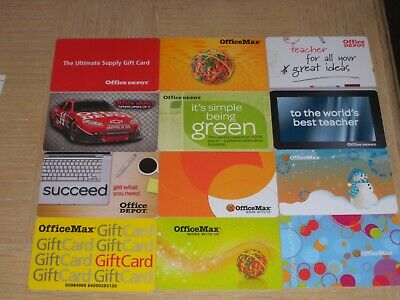 Office Max and Office Depot  12 different new and used collectible gift cards