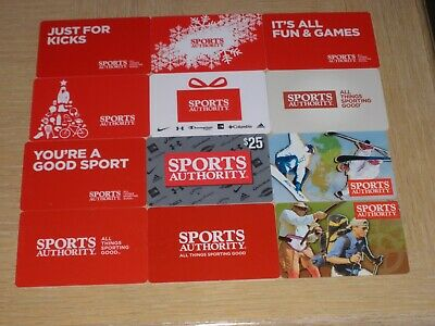 Sports Authority   12 different new and used collectible gift cards