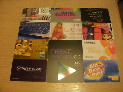 U K Miscellaneous   12 different new and used colectible gift cards