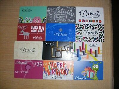 Michaels   12 different new and used collectible gift cards
