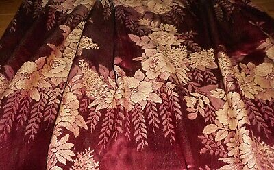 Antique Vtg. Romantic Floral Roses Satin Damask Brocade Fabric Curtain ~ Merlot
