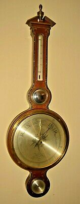 Antique Airguide Oyster Pearl Inlaid Mahogany Gilded Barometer Weather Station
