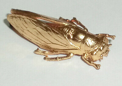 Stunning French Vintage Antique Bright Gold Tone Cicada Bug Pin Brooch Brass