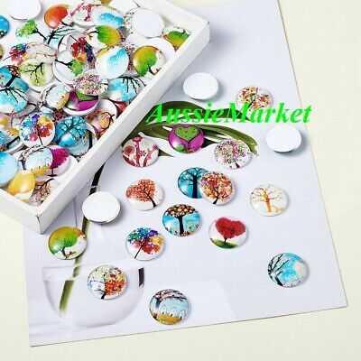 20 x cabochons glass dome floral tree flat back round 12mm jewellery craft bead