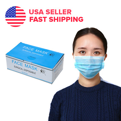 50 PCS Disposable Face Mask Medical Surgical Dental Anti-Dust Nail Earloop 3-Ply