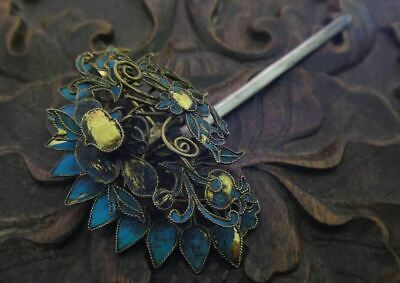 18th C chinese antique silver kingfisher feather butterfly hairpin