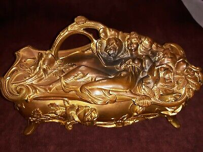 Antique Art Nouveau  Jewelry  Box Coffin Metal Gilded Beautiful Nude woman 1910