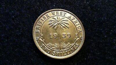 1939 TWO SHILLINGS BRITISH WEST AFRICA, George VI, 2 Shillings COIN      #  82