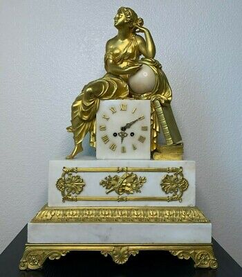 Gorgeous Empire Antique Gilt and White Marble French Mantel Clock