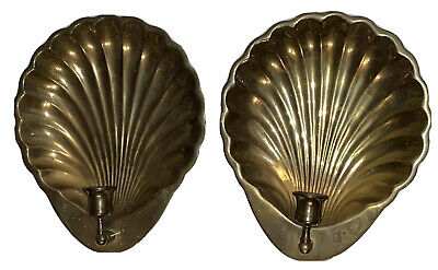 Vintage Solid Brass Clam Shell Wall Sconce Candle Holder Handcrafted Korea