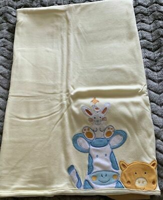 Target Cow, Pig, Rabbit, Chicks Applique Lemon Baby Blanket New But No Packaging