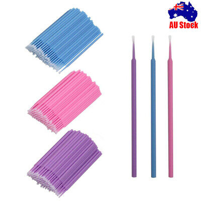 100X Micro Brushes Disposable Microbrush Applicators Eyelash Extension Swab GNZF