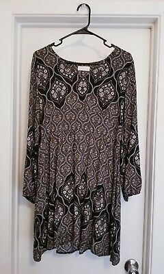 Alter'd State Floral Baby Doll Dress Boho Peasant Black & Brown Size Large