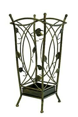 Wrought Iron Umbrella Stand - Antique Appearance with Ornate Leaves