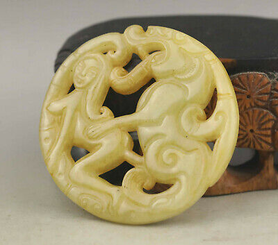 Old Chinese natural jade hand-carved statue of beast and woman pendant