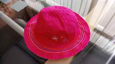 3 - 9 months Baby Sun Hat Flapjack Bucket Beanie Pink Floral Reversible NEW