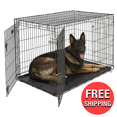 Dogs Kennel EXTRA LARGE Pet Dog Crate Storage Folding Cage Metal Double Door