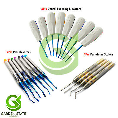 19Pcs Set Periotome Atraumatic Extraction Scalers PDL Dental Luxating Elevators