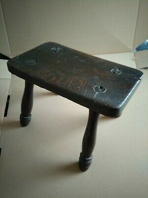 Old Antique Oak Milking Stool