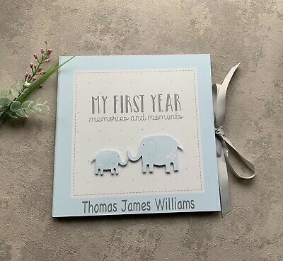Personalised Baby Boy Memory Record Book My 1st Year - Blue - Christening Gift