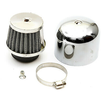 38mm Scooter Air Filter Chrome Performance Mushroom Straight Neck With Cover