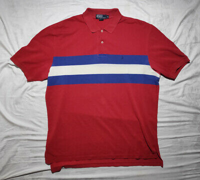 Polo Ralph Lauren Polo Shirt Vintage Red Mid Stripe size XL